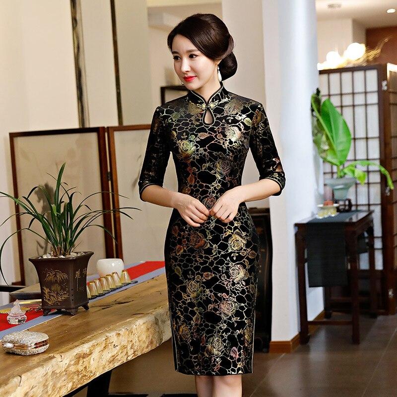 Plus Size S-5XL Knee Length Cheongsam Vintage Chinese Style Dress Fashion Womens Velour Qipao Slim Party Dresses Button Vestido