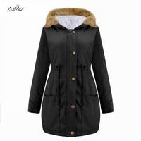 Oversize Women's Army Green hooded Coat Parkas Ladies Black Winter Long Jacket Outwear Brand Style Khaki