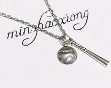 New Fashion Jewelry Baseball Bat & Ball Silver Charms Pendant Necklace Sports Mom Gift new fashion jewelry baseball bat