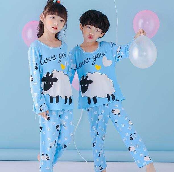 Children s pajamas set spring and autumn boys long sleeve Korean style  house clothes large girls cartoon 093ffdf02