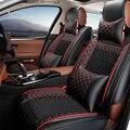 Tampa de assento do carro de couro Para A almofada do assento de carro de Luxo de couro capa universal para Skoda Fabia Superb Rápida-car styling