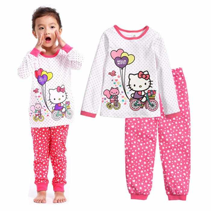 30a29ae9a0 ... Spring Autumn Kids Girls Boys Hello Kitty Sleepwear Long Sleeve Pajamas  Cotton Nightdress Baby Childrens Cartoon ...