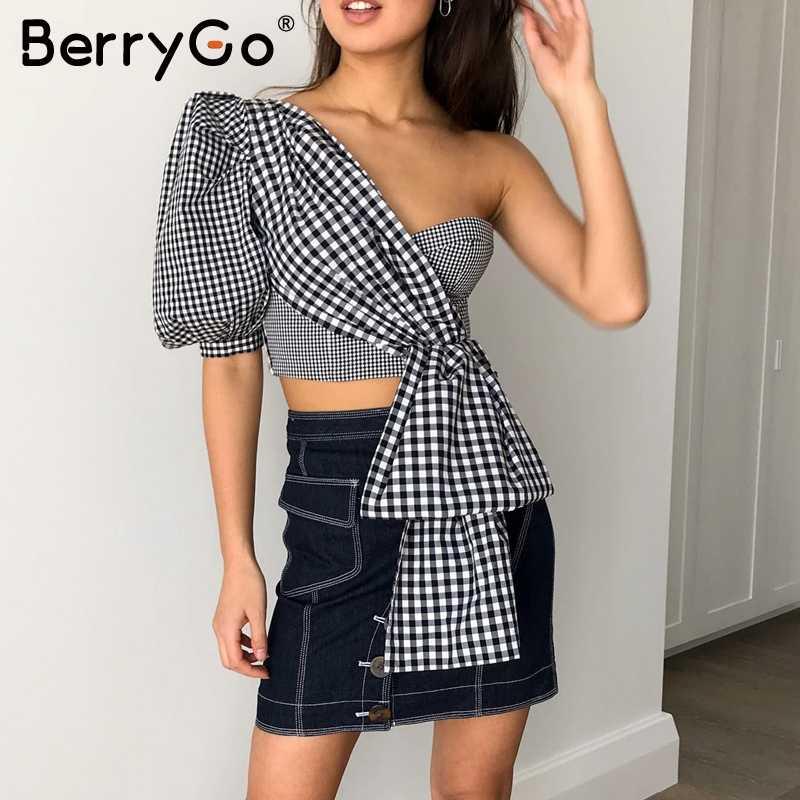 BerryGo Sexy Een schouder plaid zomer tops crop vrouwen Vintage splice gewatteerde vrouwelijke blouse camis Casual Party club dames shirts