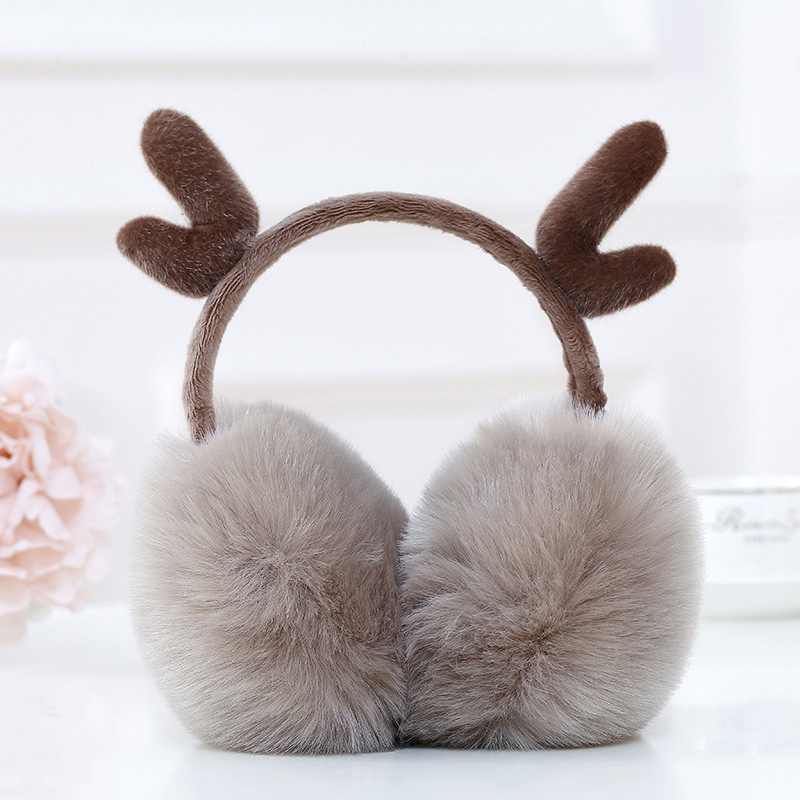 Cute Novelty Antlers Fur Winter Earmuffs Women Warm Earmuff Ear Warmer Gifts For Girls Cover Buckhorn Ears Soft Plush Ear Muff