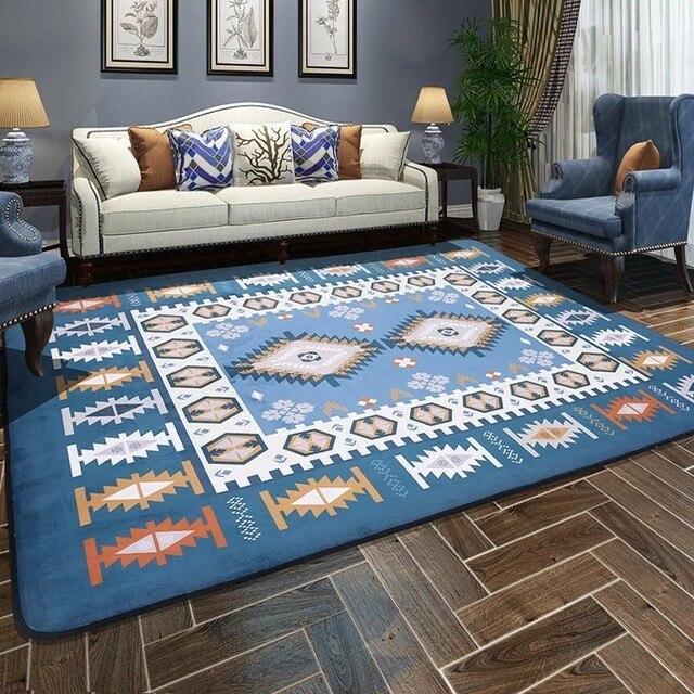 Exceptionnel Bleu Mélangé tapis de sol, grande taille motif géométrique carpet  VR39