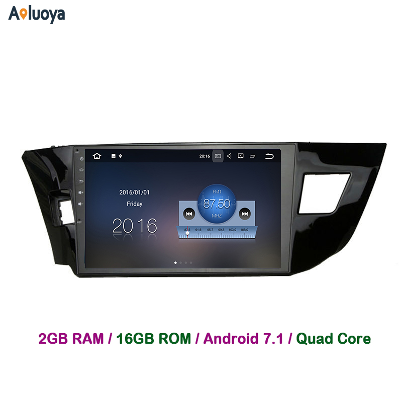 Aoluoya 2GB RAM Quad Core Android 7.1 Car DVD GPS Navigation For Toyota Corolla 2014 2015 2016 Stereo Radio audio head unit DAB