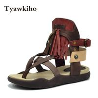 Tyawkiho Genuine Leather Women Sandals Flip Flops Summer Shoes Women Beach Sandals 2018 Fringe Fashion Flat