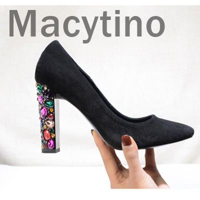 Macytino/элегантные женские туфли на высоком каблуке; Туфли на каблуке 10 см с бриллиантами; туфли для офиса на массивном каблуке