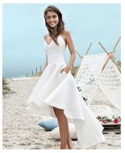 Thinyfull Sexy Beach Wedding Dresses Spaghetti Strap Vestido Noiva Praia High Low White Satin Casamento Bridal Gowns Custom Made