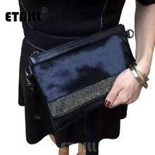 ETAILL блестящие бриллианты натуральная кожа+ конский волос дизайнерская сумка-конверт клатч вечерняя сумка на плечо из конского волоса натуральная кожаная сумка