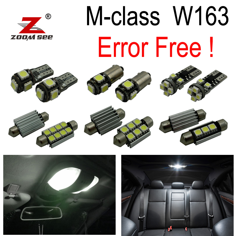 16pcs LED Vanity mirror lamp + Trunk bulb + Interior Dome Reading Map Light Kit For Mercedes Benz M ML class W163 (1998-2005)