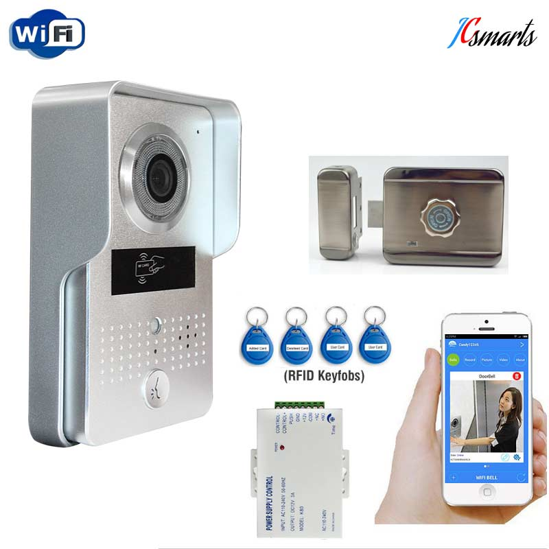 RFID video door phone wifi doorbell intercom system With Mute Electronic Lock 12V 3A Power Supply