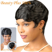 New short hair wigs for black women black and short curly synthetic wigs perruque synthetic women.jpg 200x200