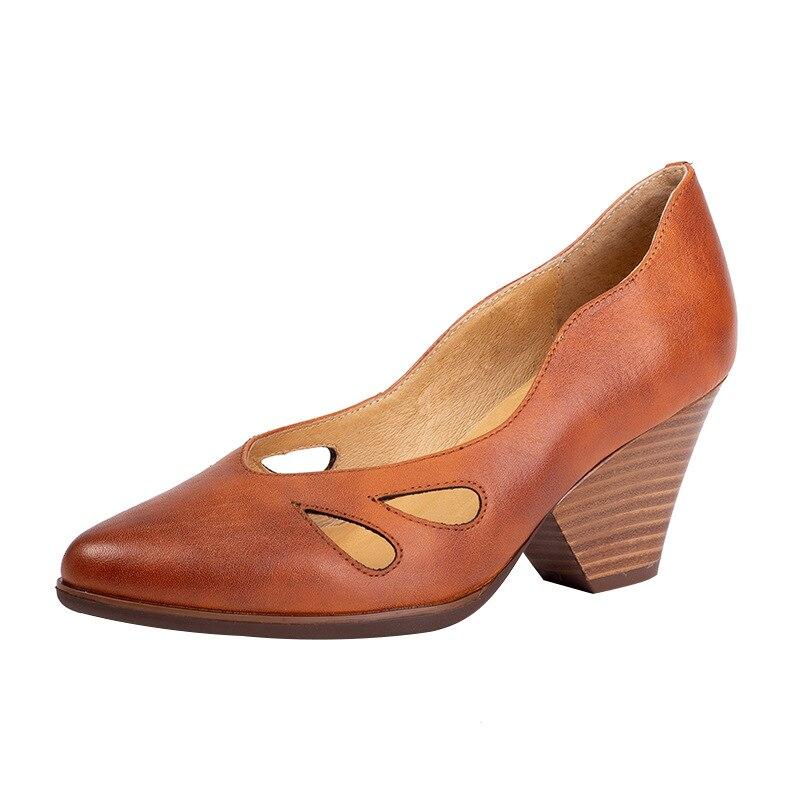 Genuino Cm Del Tacón Hueco Puntiagudo Pie Gris Hecho Zapatos Mujeres Señora De A amarillo 7 Cuero Calzado Mano Gris Alto Dedo 2019 Bombas Las Primavera IxUzqIp