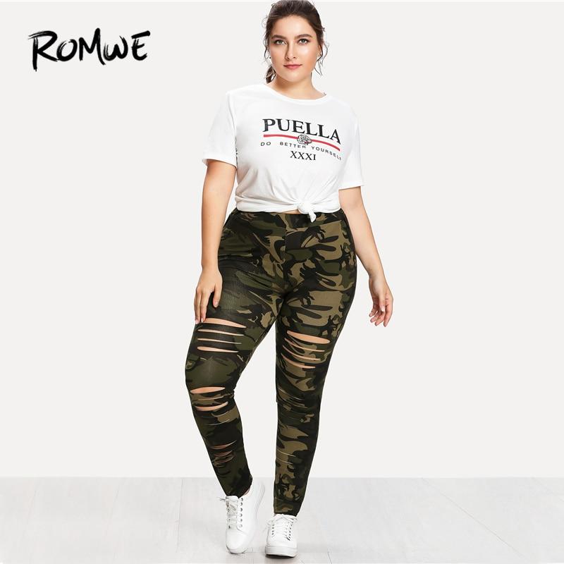 0ef4403bb99 ROMWE Plus Size Camouflage Ladder Ripped Legging Women Casual Summer  Fashion Weekend Casual Pants Female Sporty Plain Sweatpants-in Leggings  from Women s ...