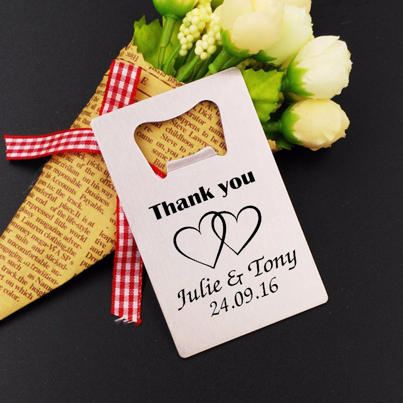 Personalized Wedding Favor Custom Engraved Credit Card Bottle Opener