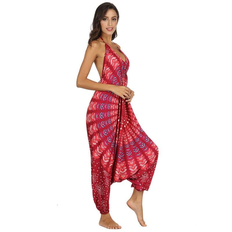 Fashion Long Bodysuit Bohemian Jumpsuits Women Hippie Harem Romper Spaghetti Strap Backless Overalls Playsuit Loose Bodysuits