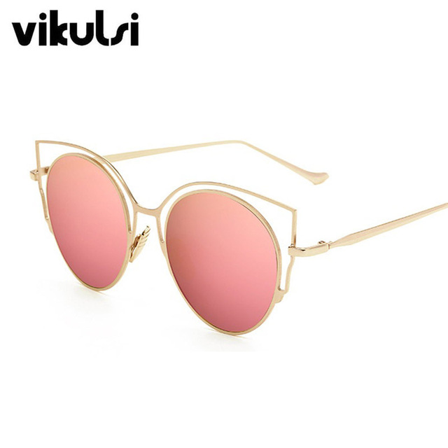Mode Cat Eye Rose Or Miroir lunettes de Soleil Femmes Marque Designer Métal  Cadre Dame Ronde 3bd84c0b737b