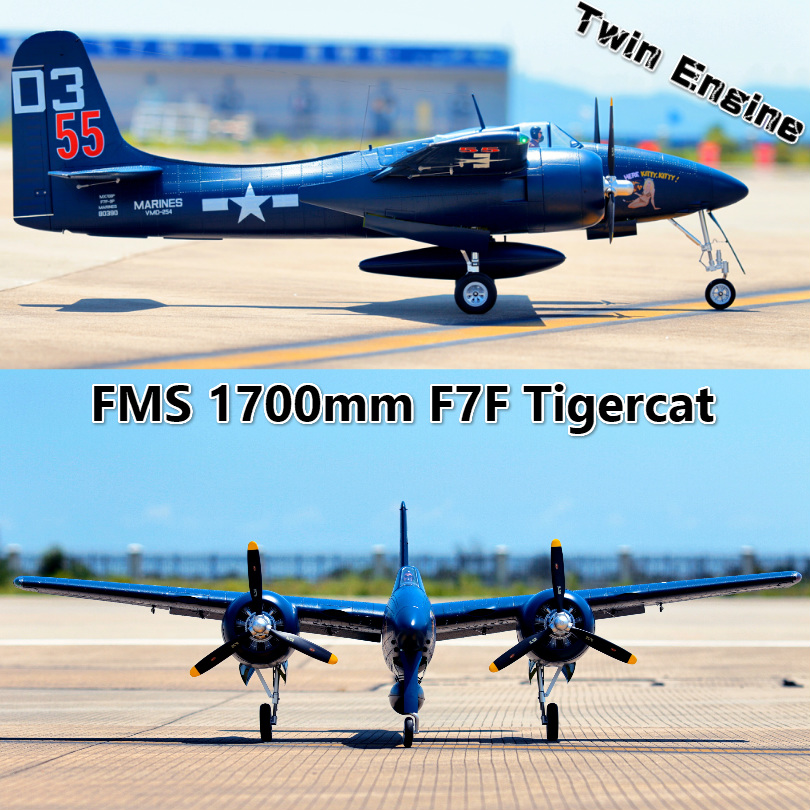 FMS Aereo RC 1700 millimetri 1.7 m F7F Tiger Cat Bimotore Blu/Nastro PNP Grande Bilancia Gaint Warbird modello di Hobby, Aereo Aereo Avion