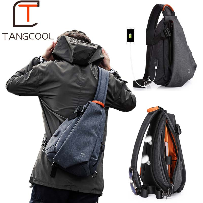 Tangcool Multifunction Fashion Men Crossbody Bags USB Charging Chest Pack Short Trip Messengers Bag Water Repellent Shoulder Bag