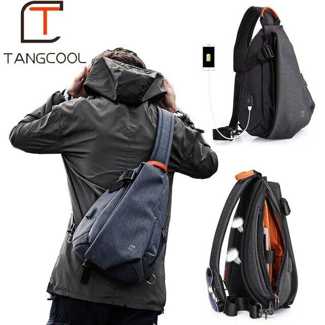 Tangcool Multifunction Moda Homens Crossbody Sacos Pacote Peito Mensageiros Saco Curta Viagem de Carregamento USB Repelente de Água Saco de Ombro