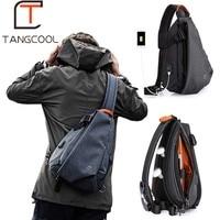 Tangcool Multifunction Fashion Men Crossbody Bags USB Charging Chest Pack Short Trip Messengers Bag Water Repellent Shoulder Bag