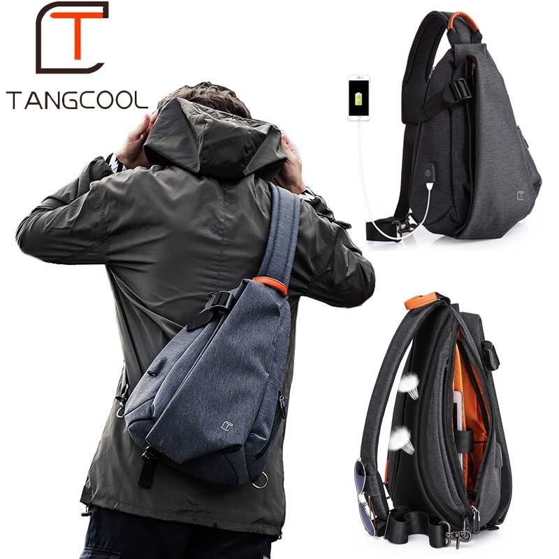 Tangcool multifonction mode hommes bandoulière sacs USB chargement poitrine Pack court voyage messagers sac hydrofuge sac à bandoulière