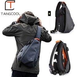 Tangcool multifunction moda masculina crossbody sacos de carregamento usb pacote peito curta viagem mensageiro saco repelente de água bolsa de ombro
