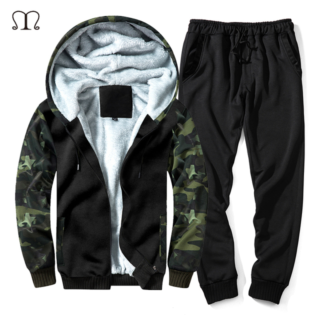 d1b543d796d EU Size Camouflage Warm Hoodies Men Tracksuit Sets Winter Thick Hooded Coats  Casual 2 Pieces Sporting Suits Jacket and Pants Men