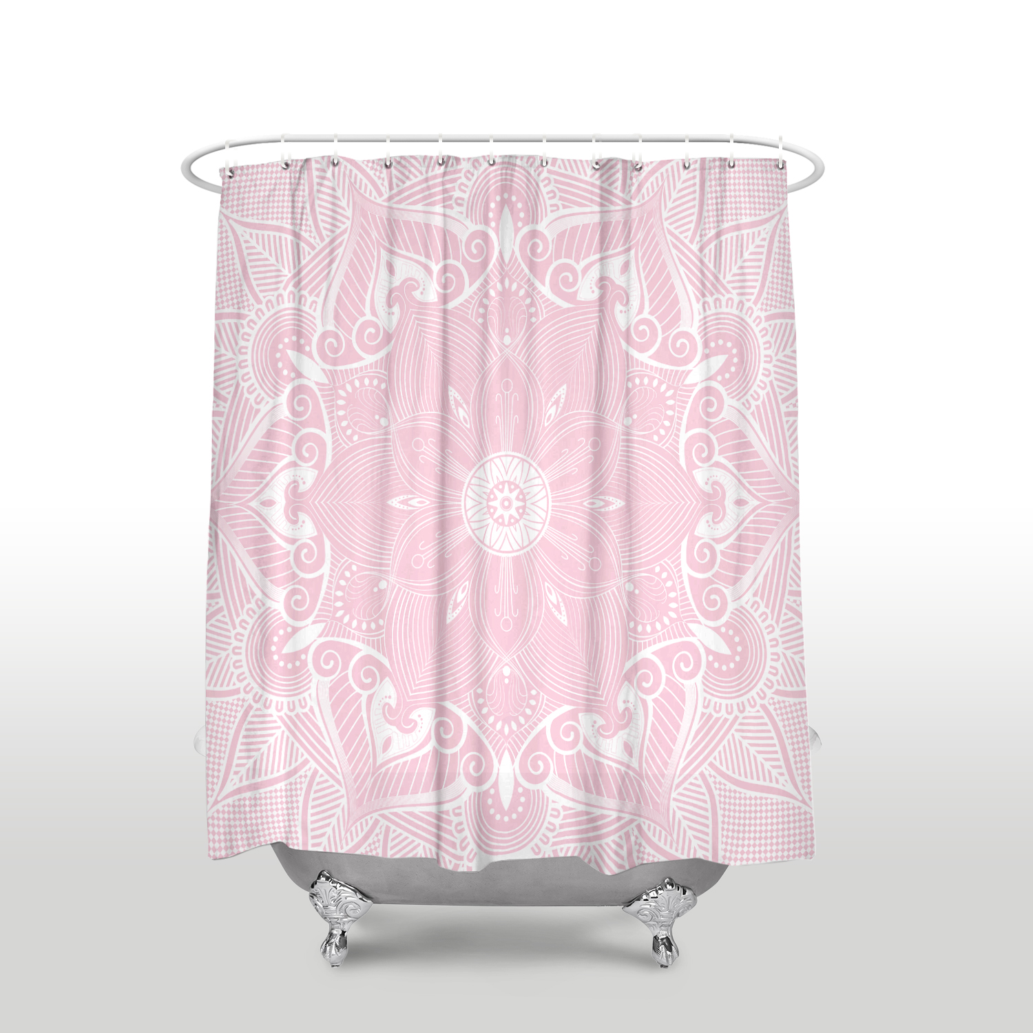 Us 18 51 40 Off New Arrival Mandala Waterproof Printed Shower Curtain With Hooks Polyester Fabric Pink Bathroom Curtains For Home Decorations In