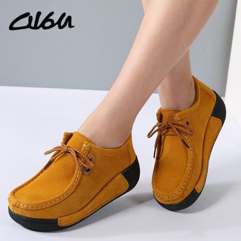 O16U Women platform Casual shoes Black   Suede     leather   Lace up flats rubber Ladies Creepers Snow Fur Shoes Female Winter Spring