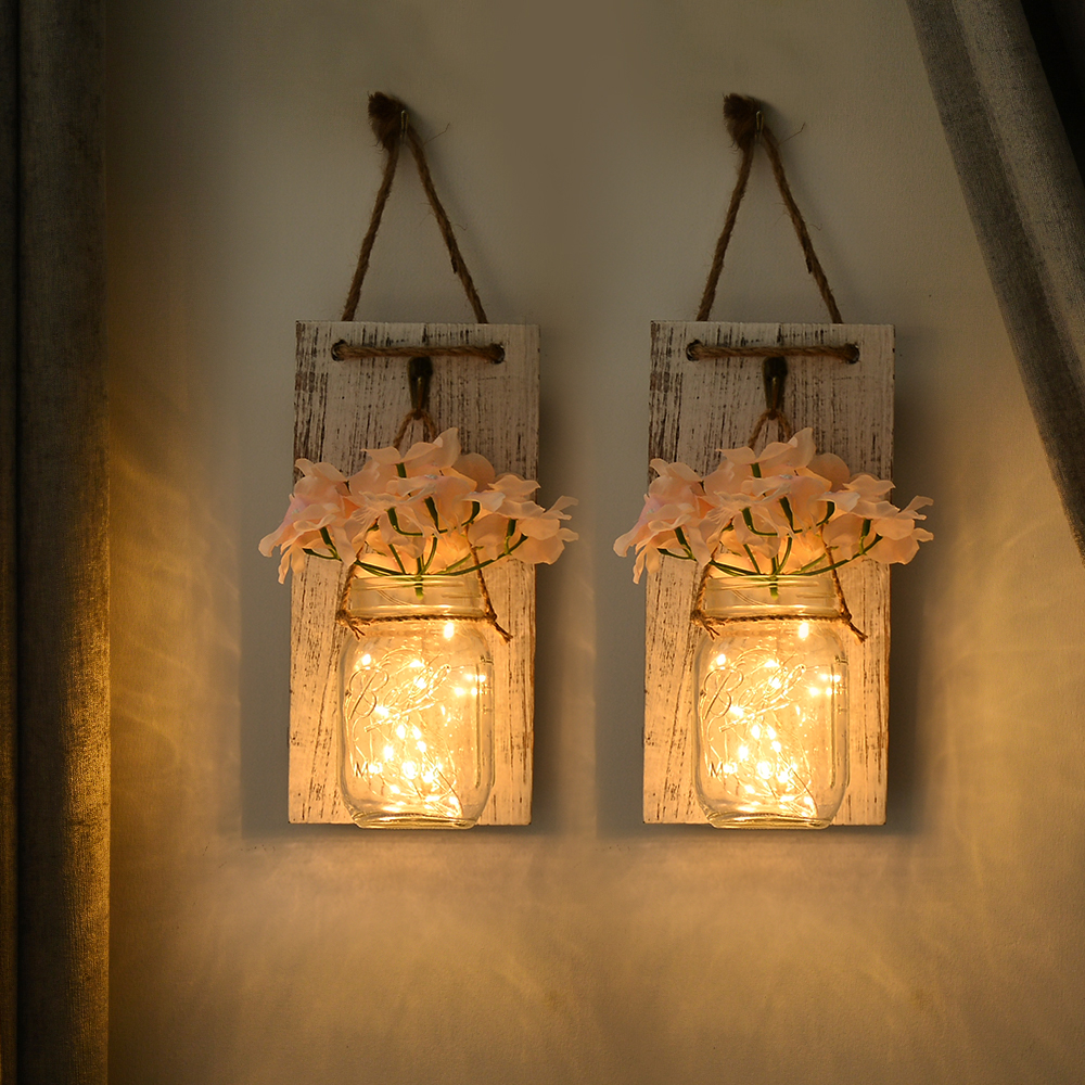 Us 18 9 30 Off Mason Jar Sconce Led Flower Fairy String Lights Handcrafted Hanging Wall Lamp Decor 2 Pack Light For Living Room In