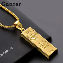 Canner Europe And America Hot Jewelry Gold Color Bars Pendant Necklace Long Bar Vertical For Men Women Hip Hop