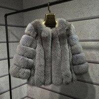 2019 Luxury Faux Fur Women's Jackets New winter Jacket Nine point sleeve Imitation Shutiao fox fur coat Fur integrated fashion