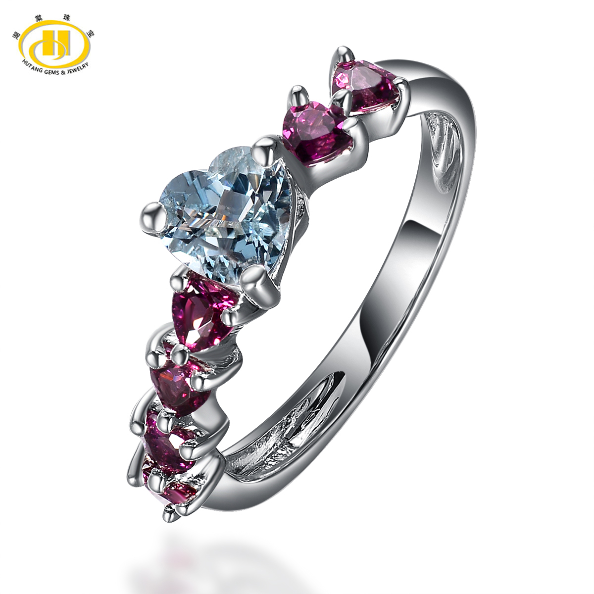 Hutang Womens Natural Aquamarine and Rhodolite Garnet GemstoneRings 925 Sterling Silver Heart Ring Wedding Fine Jewelry Gift