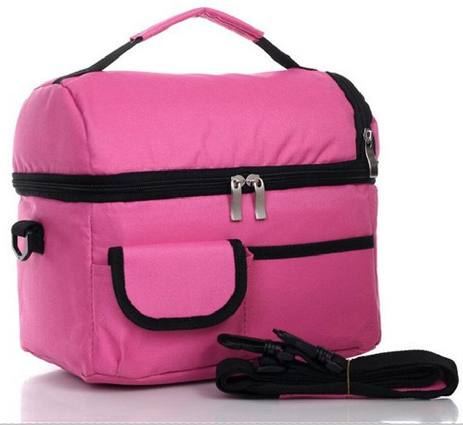 2 layers insulated cooler bag thermal lunch box picnic food storage tote bag wholesale bulk lot - Insulated Cooler Bags
