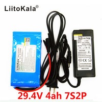 HK LiitoKala 24 v 4Ah 7S2P 18650 Batteria li-ion battery 29.4 v 4000 mah elettrico della bicicletta ciclomotore/elettrico + 2A caricatore