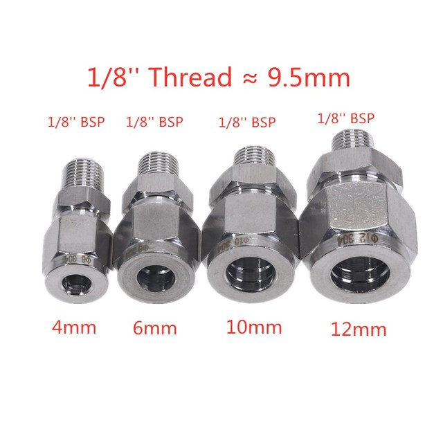 Steel Straight Conversion Adapter Fittins 304 SS Pipe Fitting Tube DSJ-M,YDF-LOK,LOK, Ferrule Connector 1/8'' 1/4'' 3/8'' 1/2''