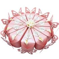 50 pz Creativo Dolce Farfalla Bomboniere Torta + Fiore + Card Regali di Nozze Scatole di Favore Per Gli Ospiti di Nozze Souvenir