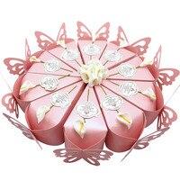 50 sztuk Kreatywnych Słodkie Butterfly Ciasto Pudełka Cukierków + Kwiat + Skrzynek Sprzyjają Ślubne Prezenty Dla Gości Karty Pamiątka Ślubu