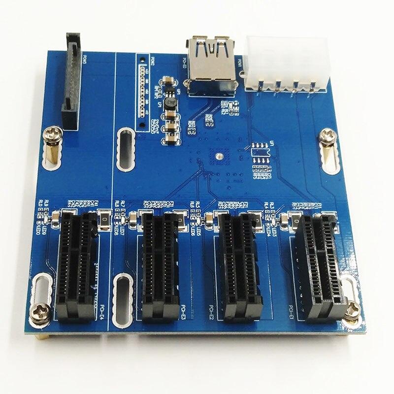 PCI-E à PCIe Riser Carte Adaptateur 4-port PCI-Express 1X Fente Pour Carte D'extension avec SATA 15pin & 4pin alimentation + USB 3.0 Câble