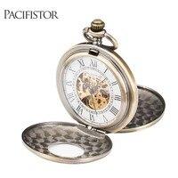 INFANTRY Pocket Watch Mechanical Full Metal Alchemist Skeleton Pocket Watches Men Steampunk Necklace Fob Clock Chain Bronze 2018