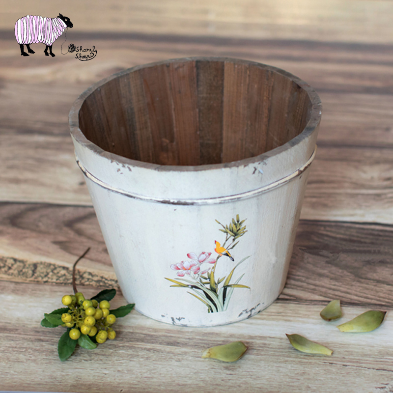 Newborn Baby Photography Retro Printing Wooden Bucket Props Infant bebe fotografia Props Little Baby Photo Shoot