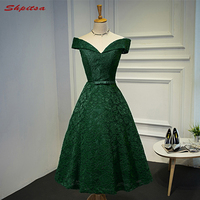Green Lace Cocktail Party Dress Summer Women Knee Length Ladies Graduation Prom Coctail Party Dresses