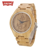 ZAZAC Full Bamboo Wood Watches Lost Sea Anchors Bamboo Clock Wooden Wristwatches Men Luxury Watch Relogio