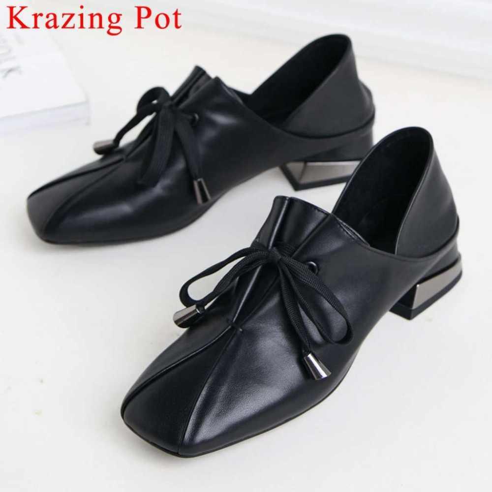 Krazing Pot artı boyutu hakiki deri düşük topuklu lace up klasik kare ayak tıknaz alçak topuklu pompalar vintage parti rahat ayakkabılar l86