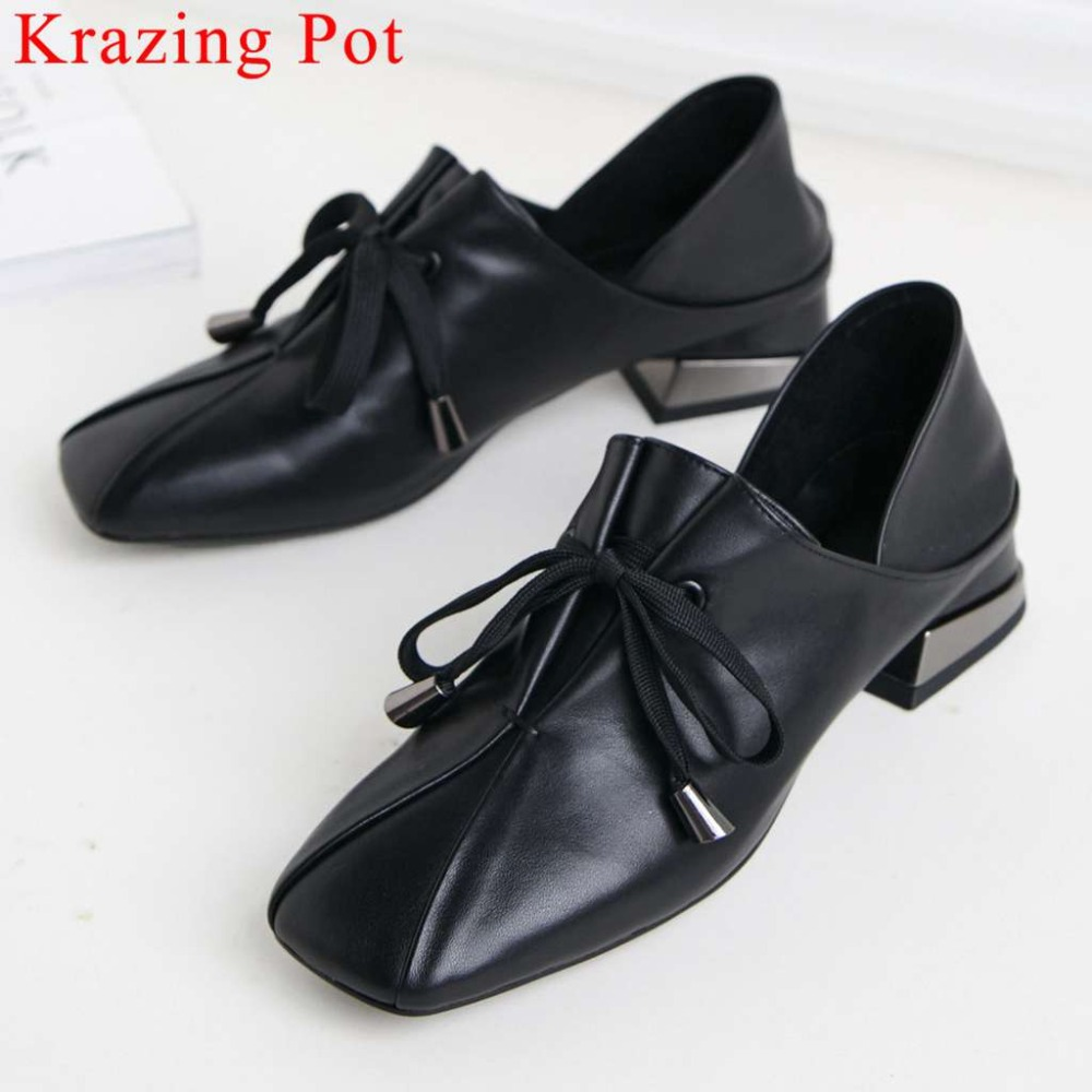 Krazing Pot Plus Size Genuine Leather Low Heels Lace Up Classic Square Toe Chunky Low Heels Pumps Vintage Party Casual Shoes L86