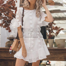 CUERLY Flower applique women summer dress Elegant embroidery white sashes short sundress Holiday female beach dresses 2019