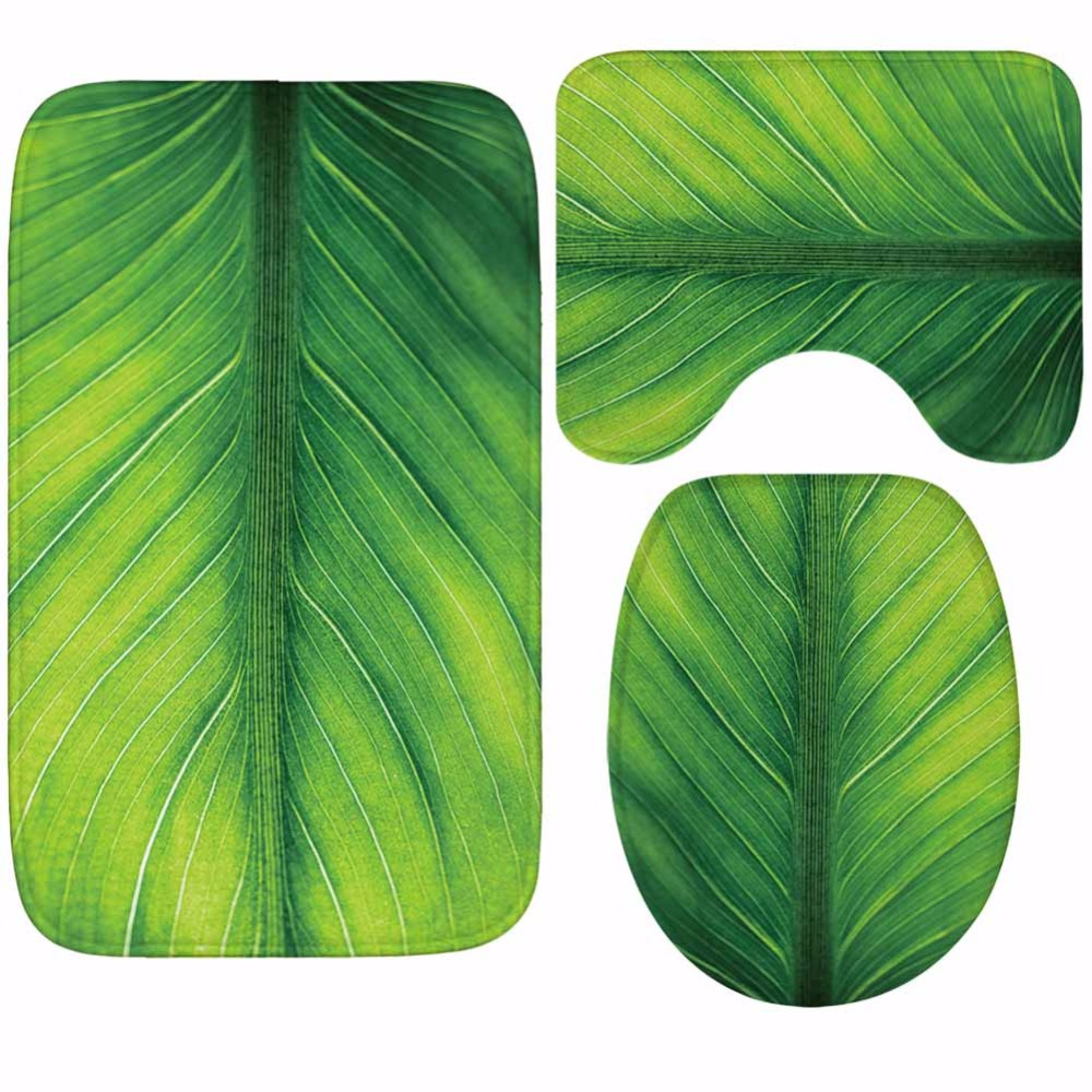 Image 3 - CAMMITEVER Toilet WC Non slip Carpet Creative Green Leaves Bathroom 3PCS Set Area Rugs 3D Leaf Home Hotel Decor Soft Pads-in Rug from Home & Garden