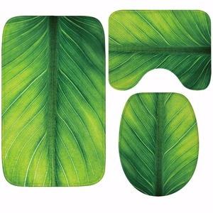 Image 3 - CAMMITEVER Toilet WC Non slip Carpet Creative Green Leaves Bathroom 3PCS Set Area Rugs 3D Leaf Home Hotel Decor Soft Pads